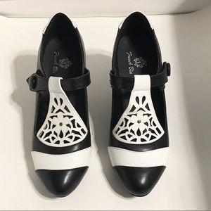 French Blu Black & White Heels